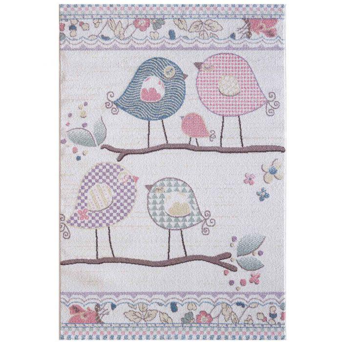 Kinderzimmer Teppich Bunt | Vogelmotiven für Jungs | Mädchen Nr.4606 LunaK-4606-cream für Kinder