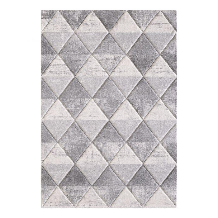 Moderner Kurzflor Teppich Weiß mit symmetrisch angeordnetem Rautenmuster | 2905 Sanat-LORENA_2905 Geometrische Muster