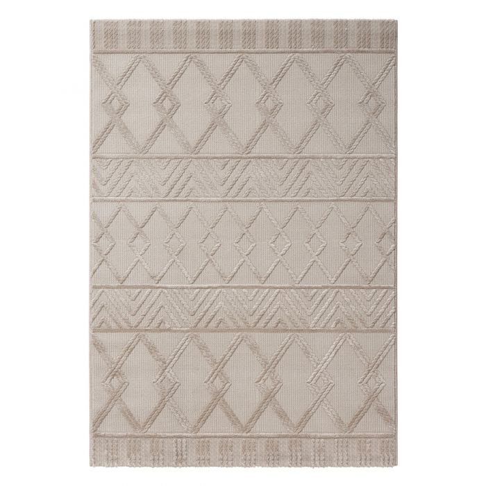 Vintage Patchwork Muster Designer Teppich 3D Skandi Illusion in Beige | MY6200J
