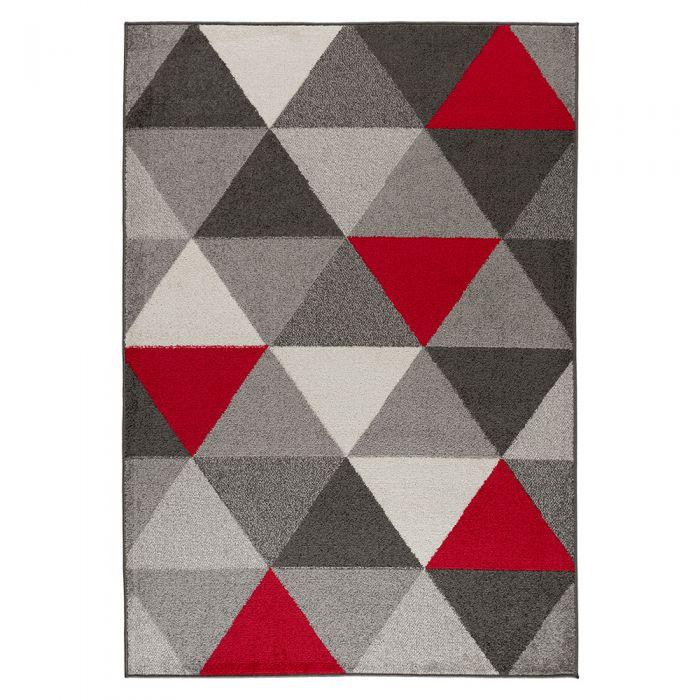 Kinderteppiche Kurzflor Teppich Rot | Skandinavisches Dreieck Muster MY1730