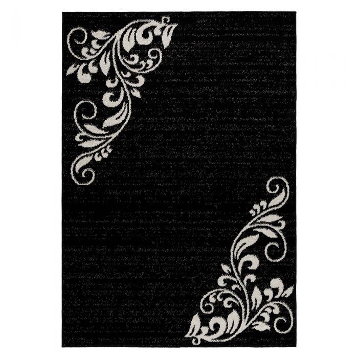 Teppich Kurzflor Schwarz | Floral Blumen Design MY1780 Medusa-1780-Black Teppich Wohnzimmer