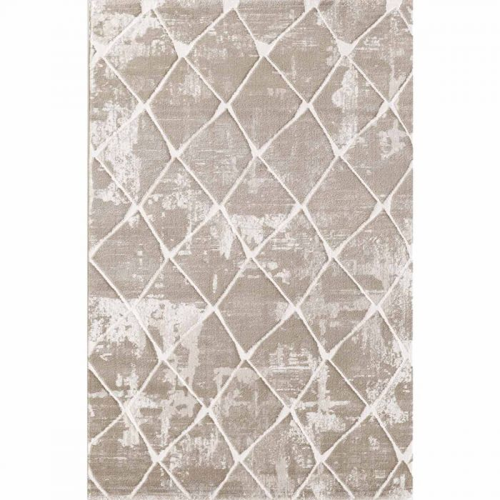 Geometrische Muster Moderner Wohnzimmerteppich mit weichem Flor in Kachel Muster in Beige MY3211