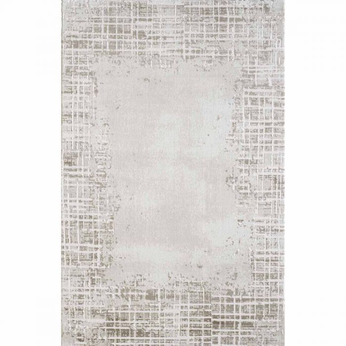 Abstrakte Muster Kurzflor Teppich in Beige mit gestreifter Bordüre mit weichem Flor MY3210