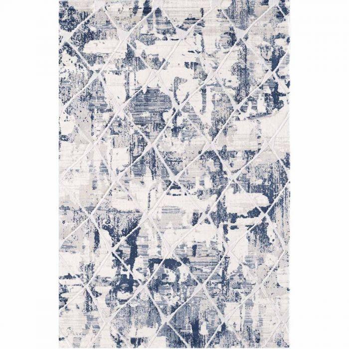 Moderner Wohnzimmerteppich mit weichem Flor in Kachel Muster in Blau Weiss MY3211 HAR-3211-Cream Geometrische Muster