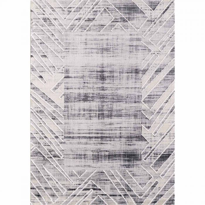 Geometrische Muster Kurzflor Teppich in Grau mit Melierung | geometrischer Bordüre MY3209