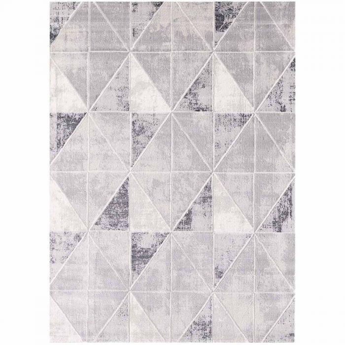 Geometrische Muster Moderner Teppich mit weichem Flor in geometrischem Muster in Hell Grau MY3212