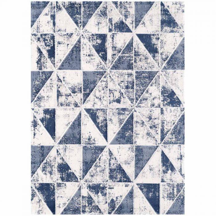 Moderner Teppich mit weichem Flor in geometrischem Muster in Marine Navy Blau MY3212 HAR-3212-Blau Aktuelle Trends Inspirieren