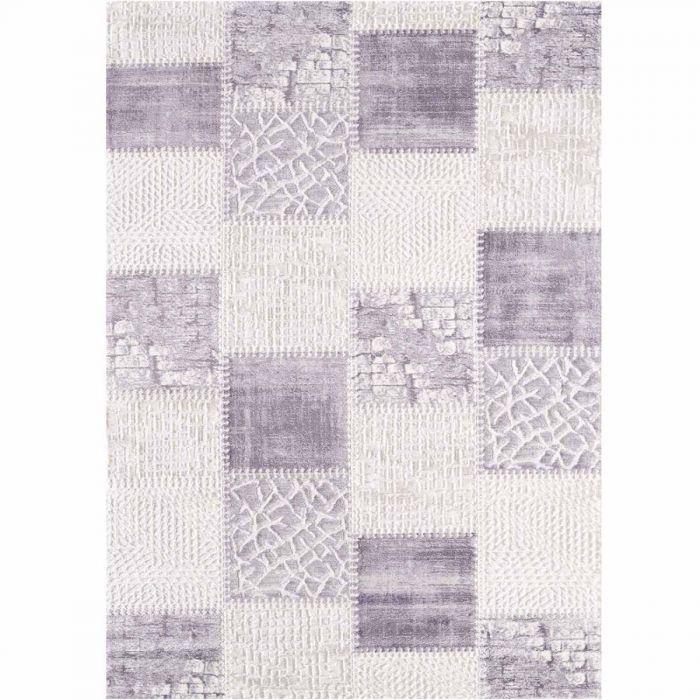 Vintage Patchwork Muster Patchwork Teppich im Vintage gekacheltem Look in Soft Lila Cream MY3202
