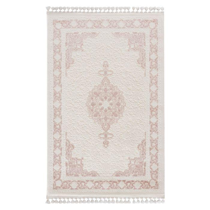 Vintage Teppiche Moderner Designer Teppich Acryl in Weiß Rosa | 6974