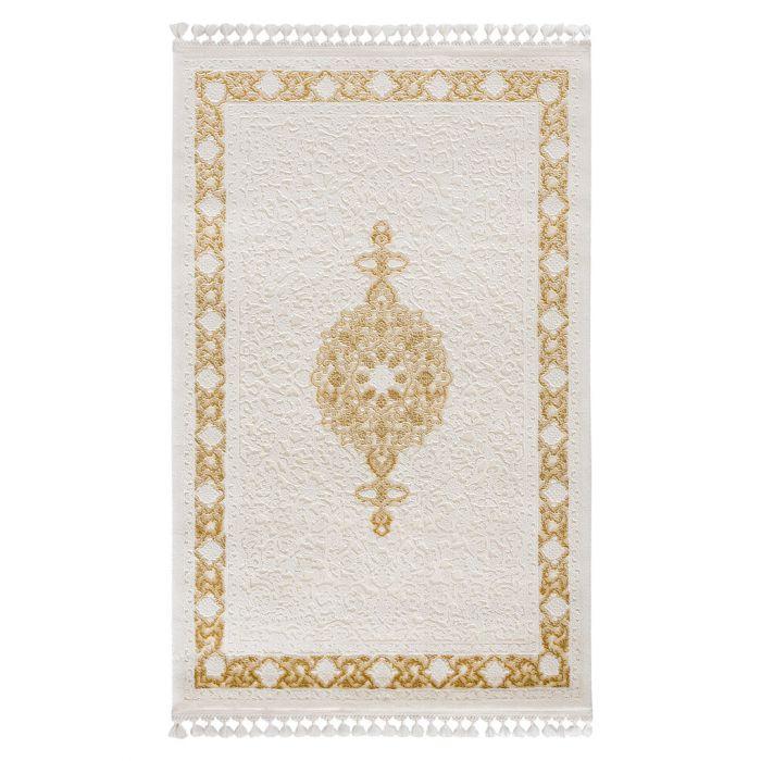 Vintage Teppiche Moderner Designer Teppich Acryl in Weiß Gelb Ocker | 6976