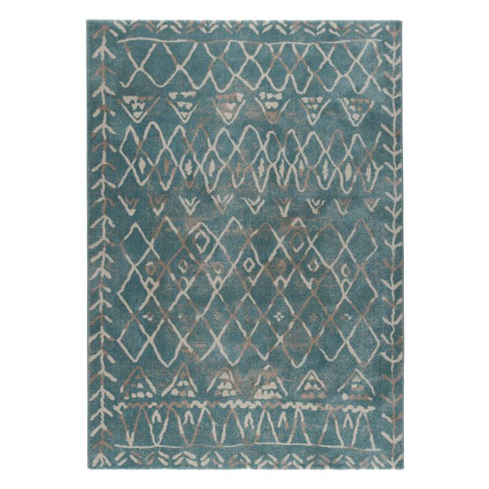 Teppich Kurzflor Türkis Blau | Vintage Boho Design | MY7796A Rustik-7796-Aqua Aktuelle Trends Inspirieren