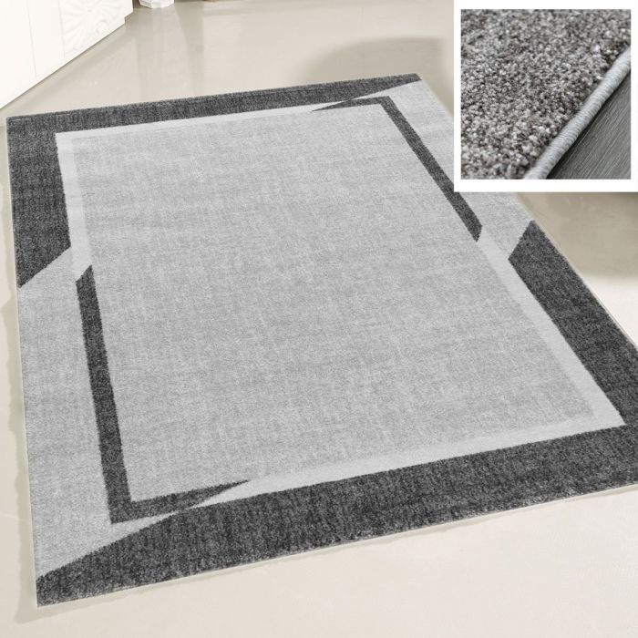 Teppich Wohnzimmer Modern Grau | Designer Bordüre Konturenschnitt MY7430G Trend-7430-Grau Küche