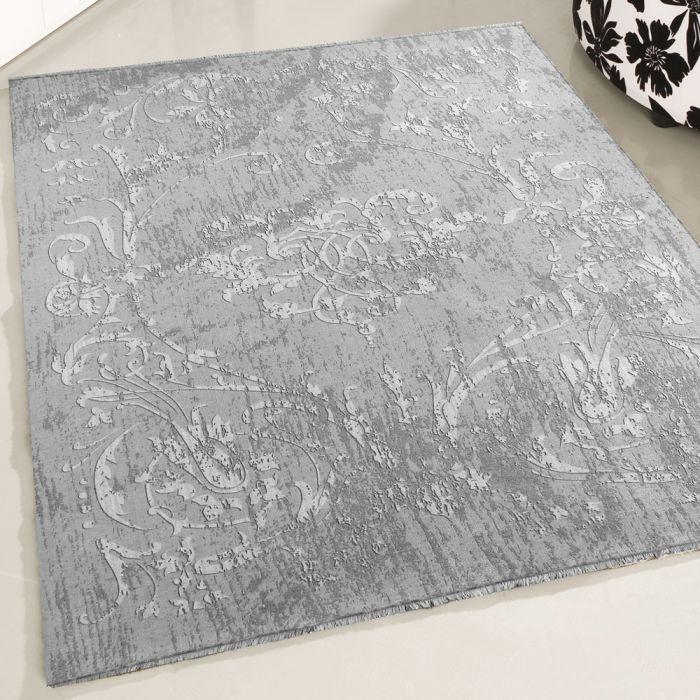 Teppich Waschbar Antibakteriell Grau Modernes Kelim Design M1000S