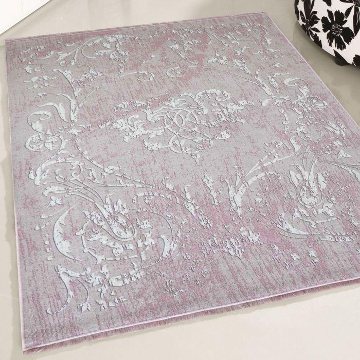 Teppich Waschbar Antibakteriell Rosa Modernes Kelim Design M1000P