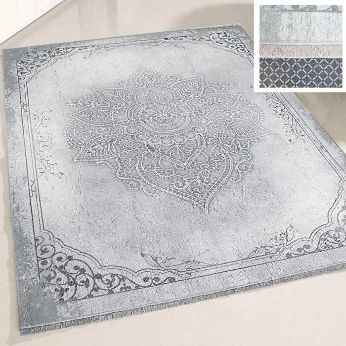 Teppich Waschbar Antibakteriell Grau Medaillon Design Modern M1100GR
