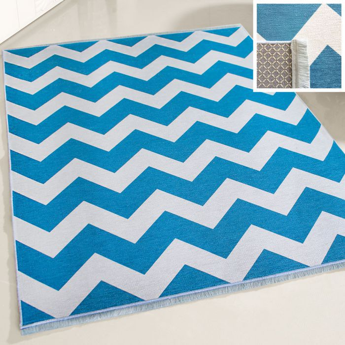 Teppich Waschbar Antibakteriell Blau Weiss Zick Zack Design M1230M