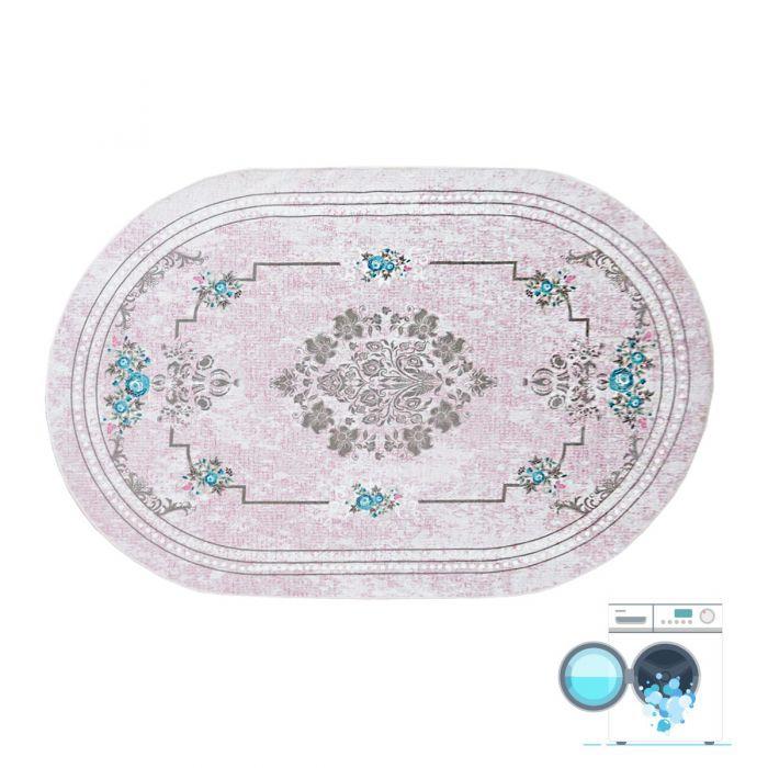 Oval 120x180 cm Teppich Waschbar Rosa Shabby Chic Design MY1300P