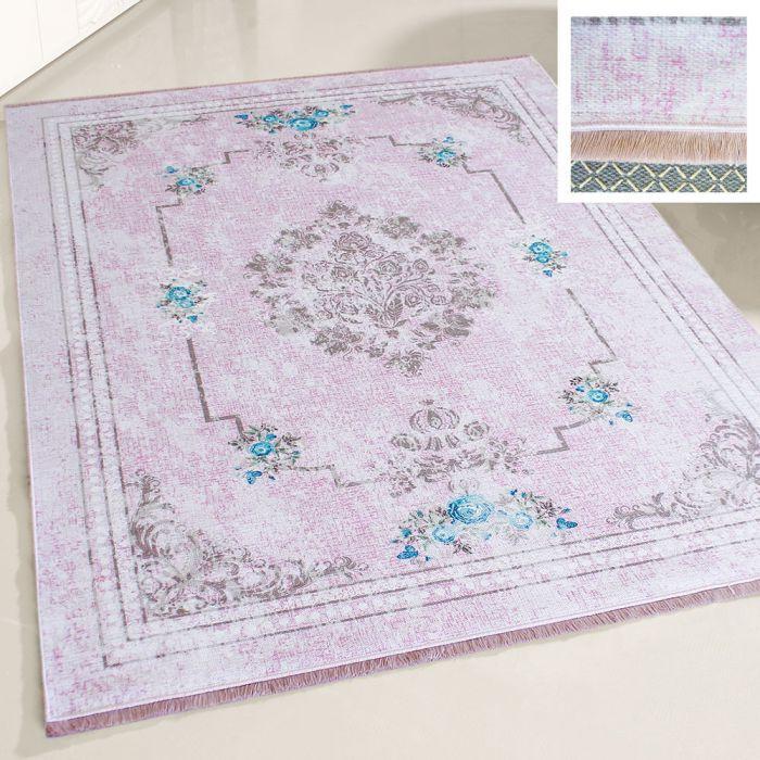 Teppich Waschbar Antibakteriell Rosa Shabby Chic Design M1300P