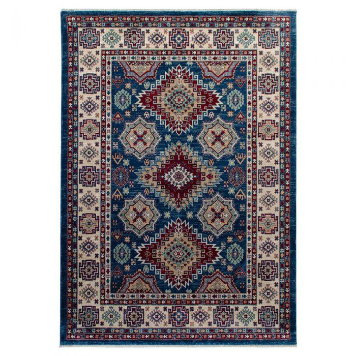 140x200 cm Hochwertiger Orientteppich Seidenimitat Kurzflor Blau MY1354