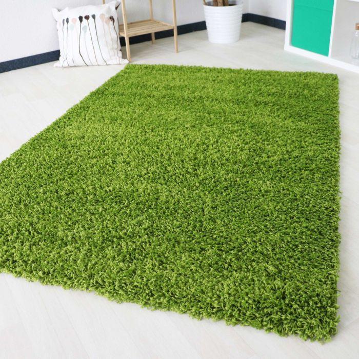 40 mm Shaggy Hochflor Teppich Grün Einfarbig Uni M170