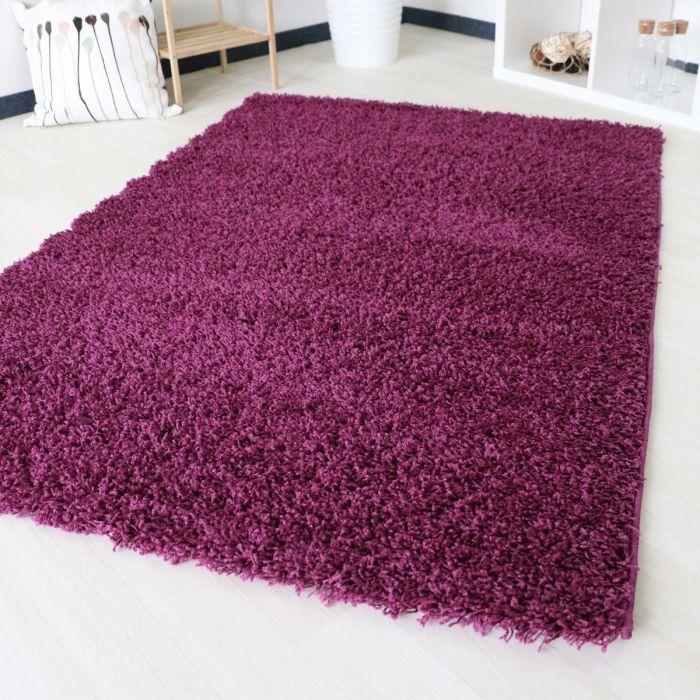 40 mm Shaggy Hochflor Teppich Violett Einfarbig Uni M170