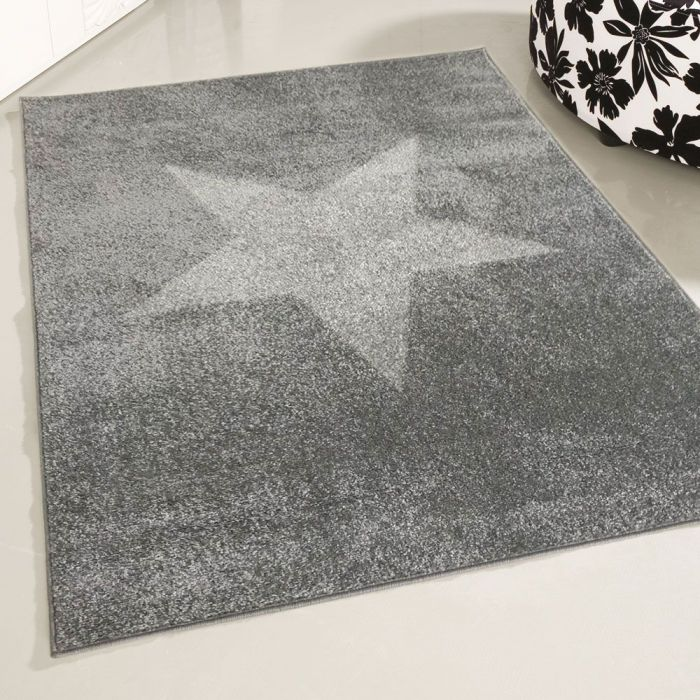 160x220 cm Kurzflor Teppich Grau Stern Motiv MY1710