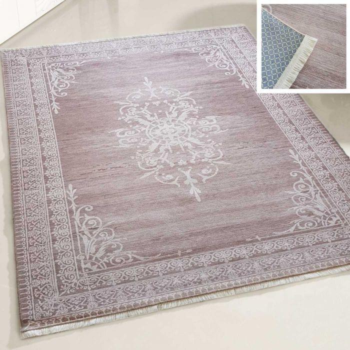 Teppich Waschbar Antibakteriell Braun Medaillon Bordüre Style M2000V