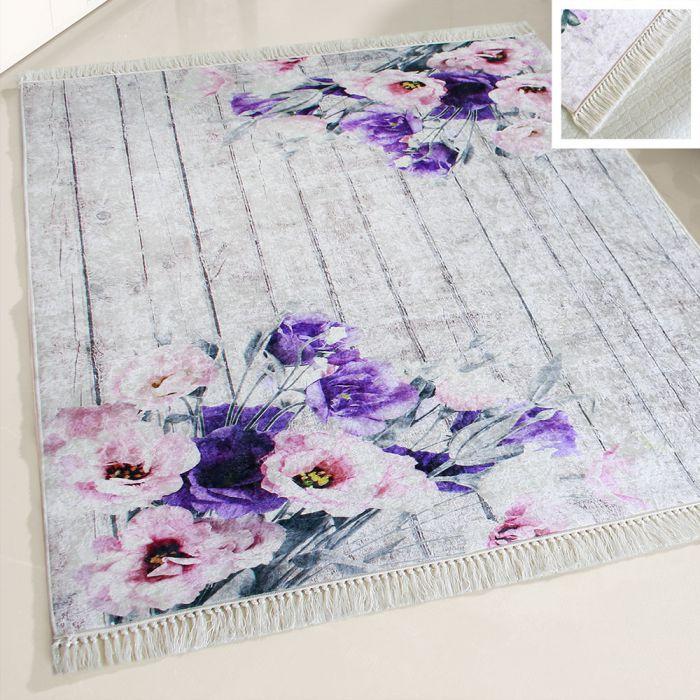 80x150 cm Waschbarer Teppich Lila Blumen Landhausstil Shabby MY2110 47719 Teppiche in 80x150 cm