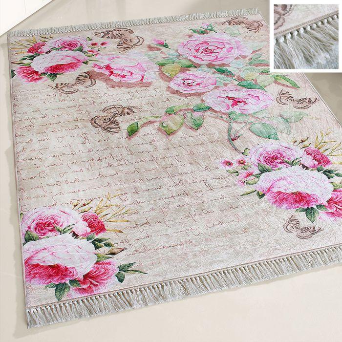 80x300 cm Waschbarer Teppich Rosa Blumen Shabby Chic Landhausstil MY2130 48263 Teppiche in 80x300 cm