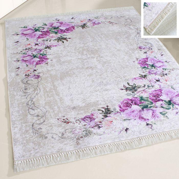 Waschbarer Teppich Antibakteriell Lila Blüten Shabby Chic Style M2210