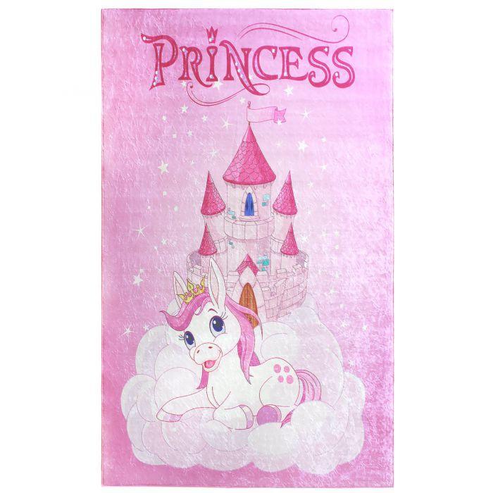Antibakteriell Waschbarer Kinderteppich Rosa Prinzessin Einhorn M2523