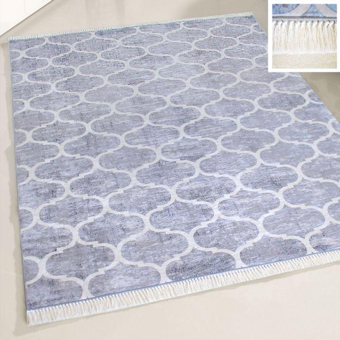 Waschbarer Teppich Antibakteriell Grau Marokkanisches Design M2720