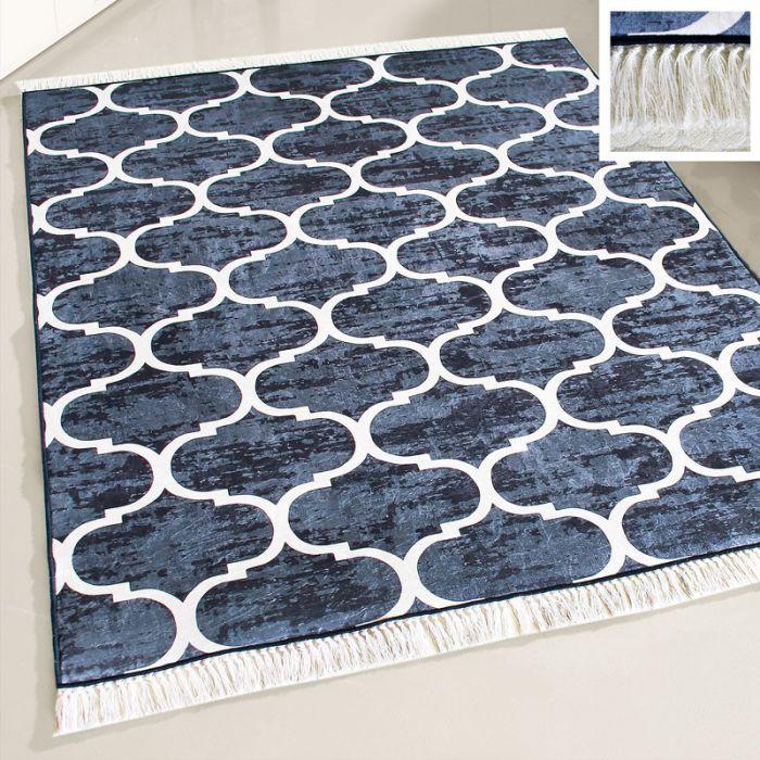 Waschbarer Teppich Blau Weiss Edel | Marokanisches Design | MY2730 Caimaz-2730 Skandinavische Teppiche