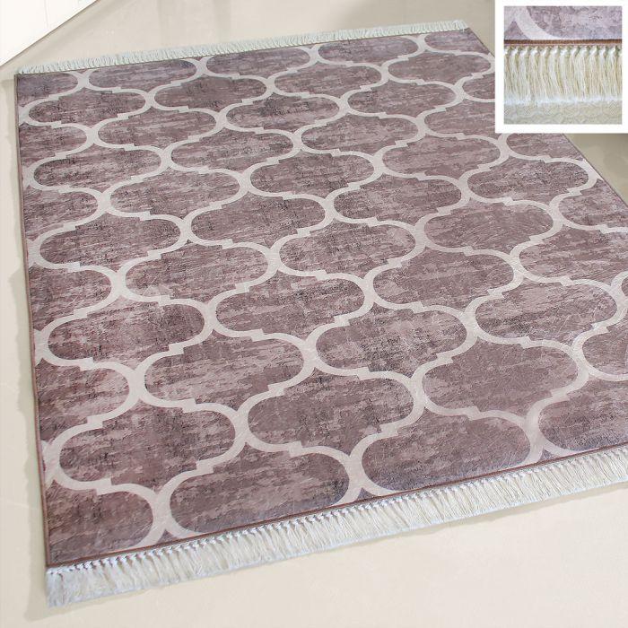 Waschbarer Teppich Antibakteriell Braun Marokkanisches Design M2810