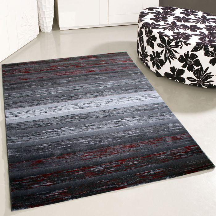 200x290 cm Kurzflor Teppich Modern Farbe Schwarz Rot
