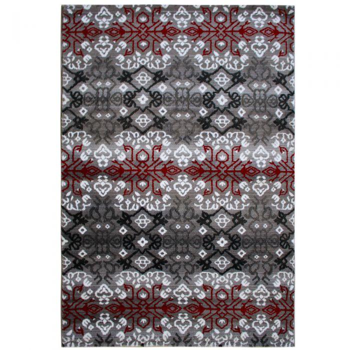 Teppich Kurzflor Rot Schwarz Grau Boho Boheme Design M311K