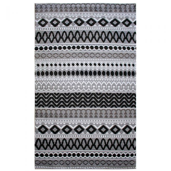Teppich Kurzflor Schwarz Grau | Boho Boheme Muster | MY312S Lena-312-Grau Skandinavische Teppiche