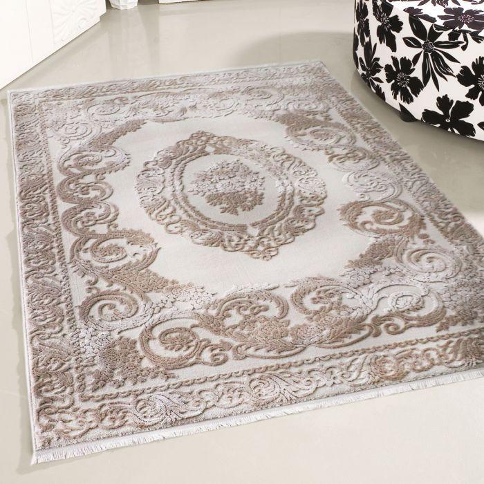 Designer Teppich Beige | Moderne Medaillon Muster MY4204 Art-4204-Beige Used Look Teppiche