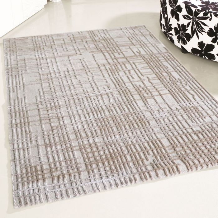 80x300 cm Designer Teppich Beige 3D Gemustertes Design MY4215
