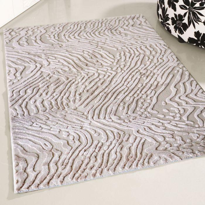 Designer Teppich Kurzflor Beige Strukturiertes 3D Design M4216