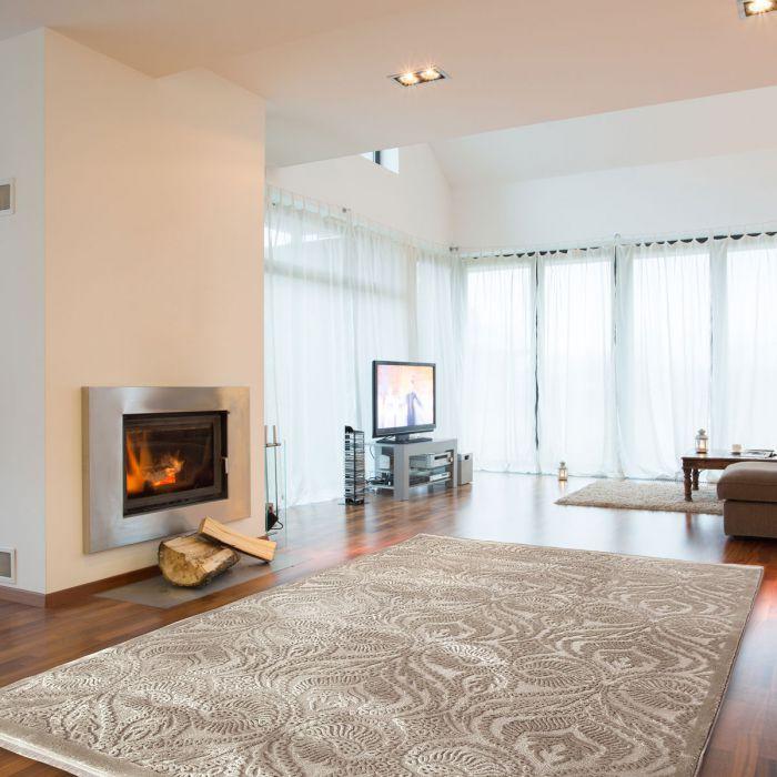 120x170 cm Oval Designer Teppich Beige Ornament Design MY4243