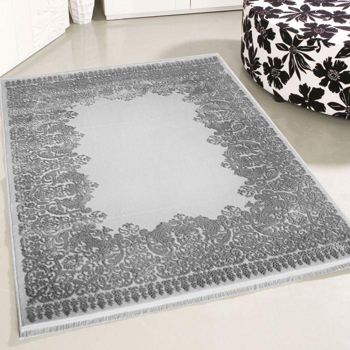 80x150 cm Designer Teppich Grau 3D Vintage Barock MYP4286
