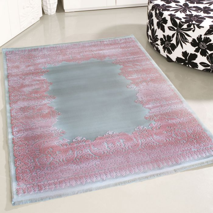 160x230 cm Designer Teppich Grau Rosa 3D Vintage Barock MYP4286