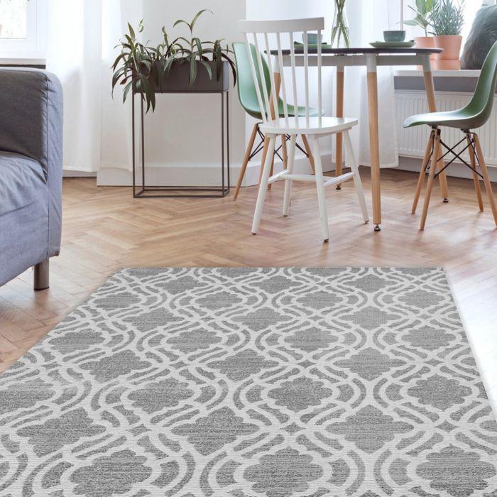 Waschbarer Teppich Baumwolle Abstrakt Geo Grau M6901