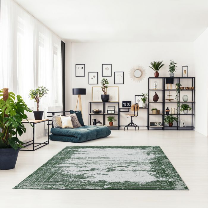 Kurzflorteppich mit Baumwolle | Indigo Aztek Grün | MY6912 CARINA 6912 Teppich aus Baumwolle