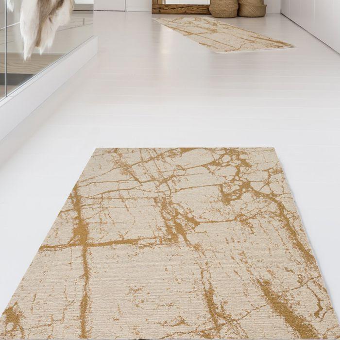 Kurzflorteppich mit Baumwolle | Abstrakt Marmor Look Gelb | MY6950 CARINA 6950 Teppich aus Baumwolle