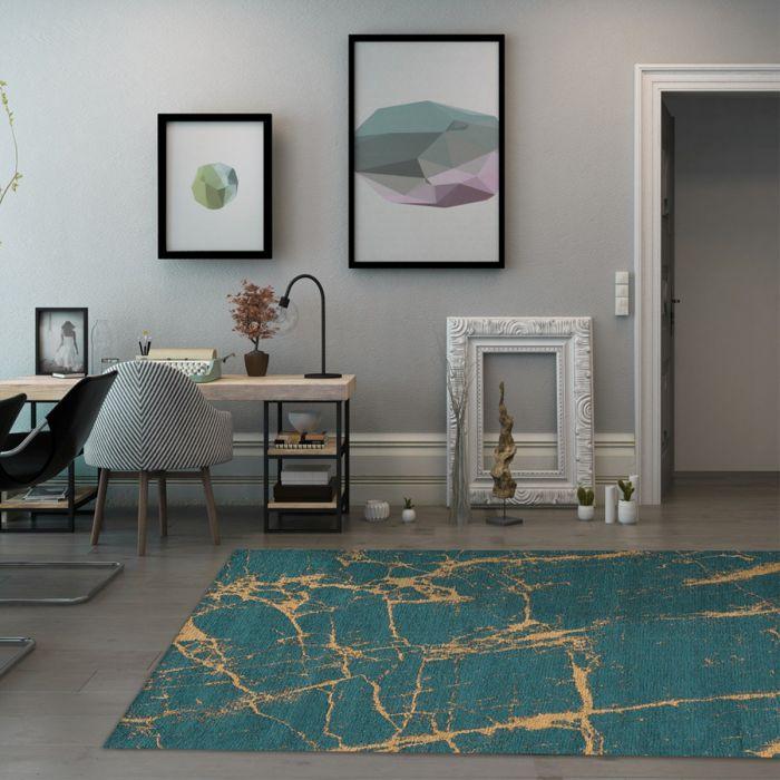 Waschbarer Teppich Baumwolle Abstrakt Marmor Look Grün Gelb M6951