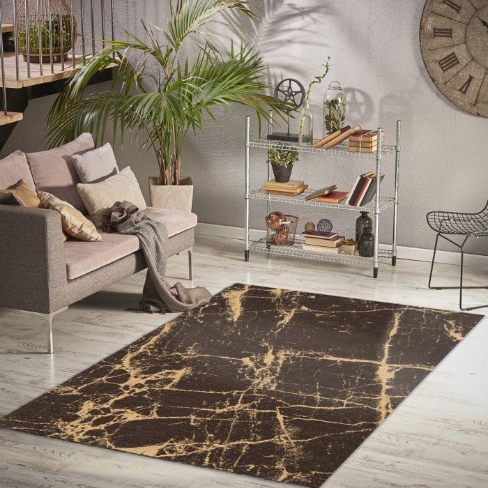 Waschbarer Teppich Baumwolle Innovation Braun Gelb Look M6953