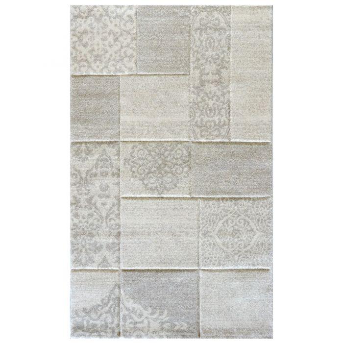 Wohnzimmer Teppich Modern Beige Karo Muster Konturenschnitt M7425