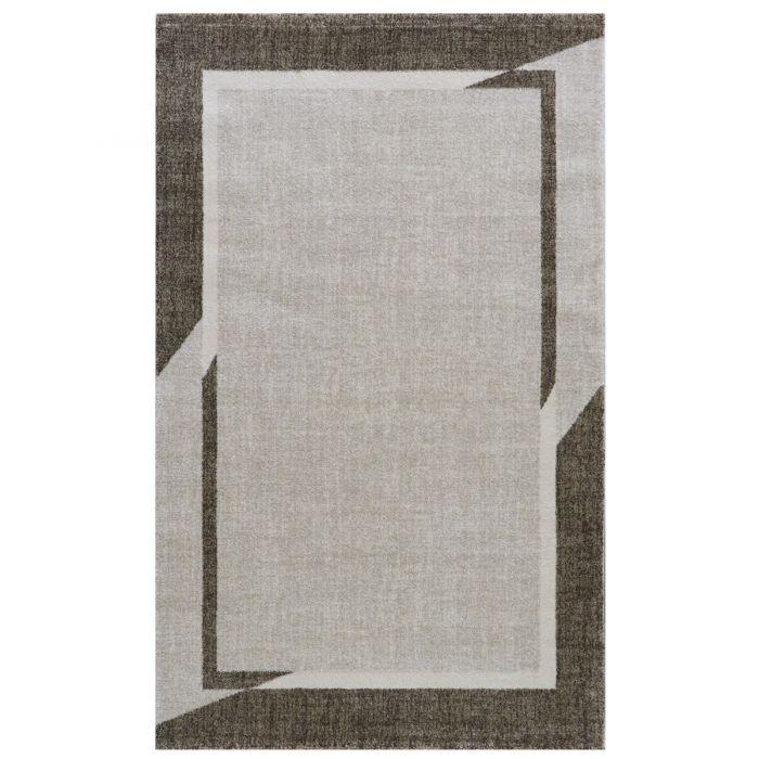 Wohnzimmer Teppich Modern Beige Designer Bordüre Konturenschnitt M7430